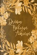Chalkboard Bullet Dot Grid Journal - Dream Believe Achieve Yellow by Marissa Kent