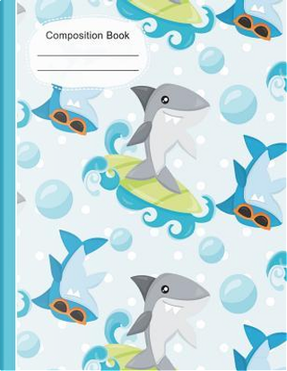Summer Fun Surfing Sharks Large Composition Notebook Dot Grid Paper by SLO Treasures