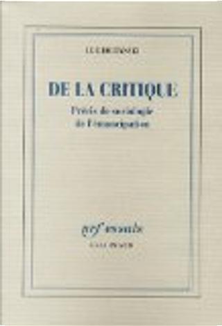 De la critique by Luc Boltanski