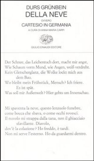 Della neve ovvero Cartesio in Germania by Durs Grunbein