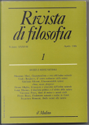 Rivista di Filosofia by Bruno Miglio, Carlo Borghero, Francesco Remotti, Giuliano Gliozzi, Luigi Marino, Massimo Mori, Pietro Rossi, Vincenza Petyx