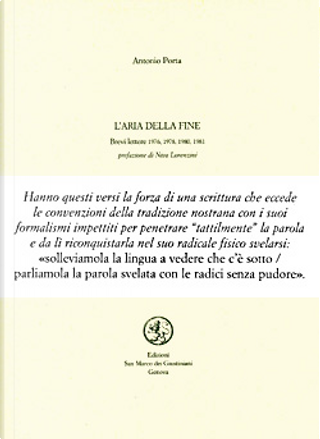 L' aria della fine by Antonio Porta