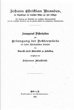Johann Christian Brandes by Johannes Klopfleisch