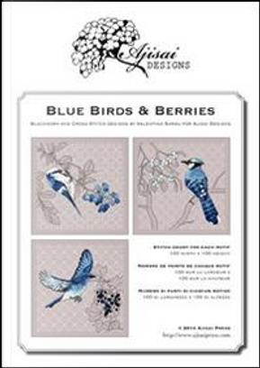 Blue birds & Berries. Cross stitch and blackwork designs by Valentina Sardu