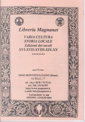 Libreria Magnanet: catalogo n. 268, giugno-luglio 2020