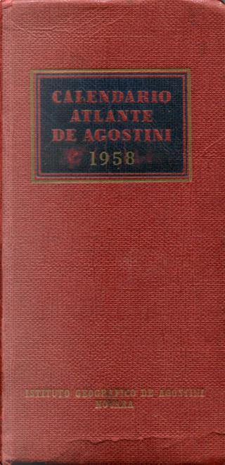 Calendario Atlante de Agostini 1958