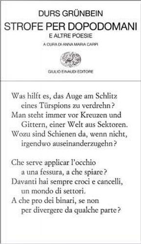 Strofe per dopodomani by Durs Grunbein