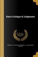 KANTS CRITIQUE OF JUDGEMENT by Immanuel 1724-1804 Kant