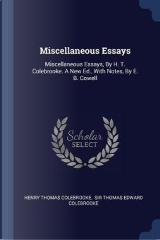 Miscellaneous Essays by Henry Thomas Colebrooke