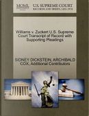 Williams V. Zuckert U.S. Supreme Court Transcript of Record with Supporting Pleadings by Sidney Dickstein