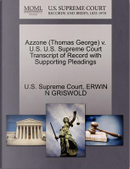 Azzone (Thomas George) V. U.S. U.S. Supreme Court Transcript of Record with Supporting Pleadings by Erwin N. Griswold