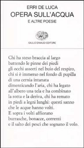 Opera sull'acqua by Erri De Luca