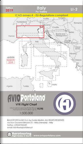 Avioportolano. VFR flight chart LI 2 Italy Po valley. ICAO annex 4 - EU-Regulations compliant. Ediz. italiana e inglese by Guido Medici
